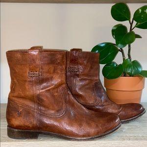 Frye Anna Shortie Cognac Ankle Leather Bootie 10